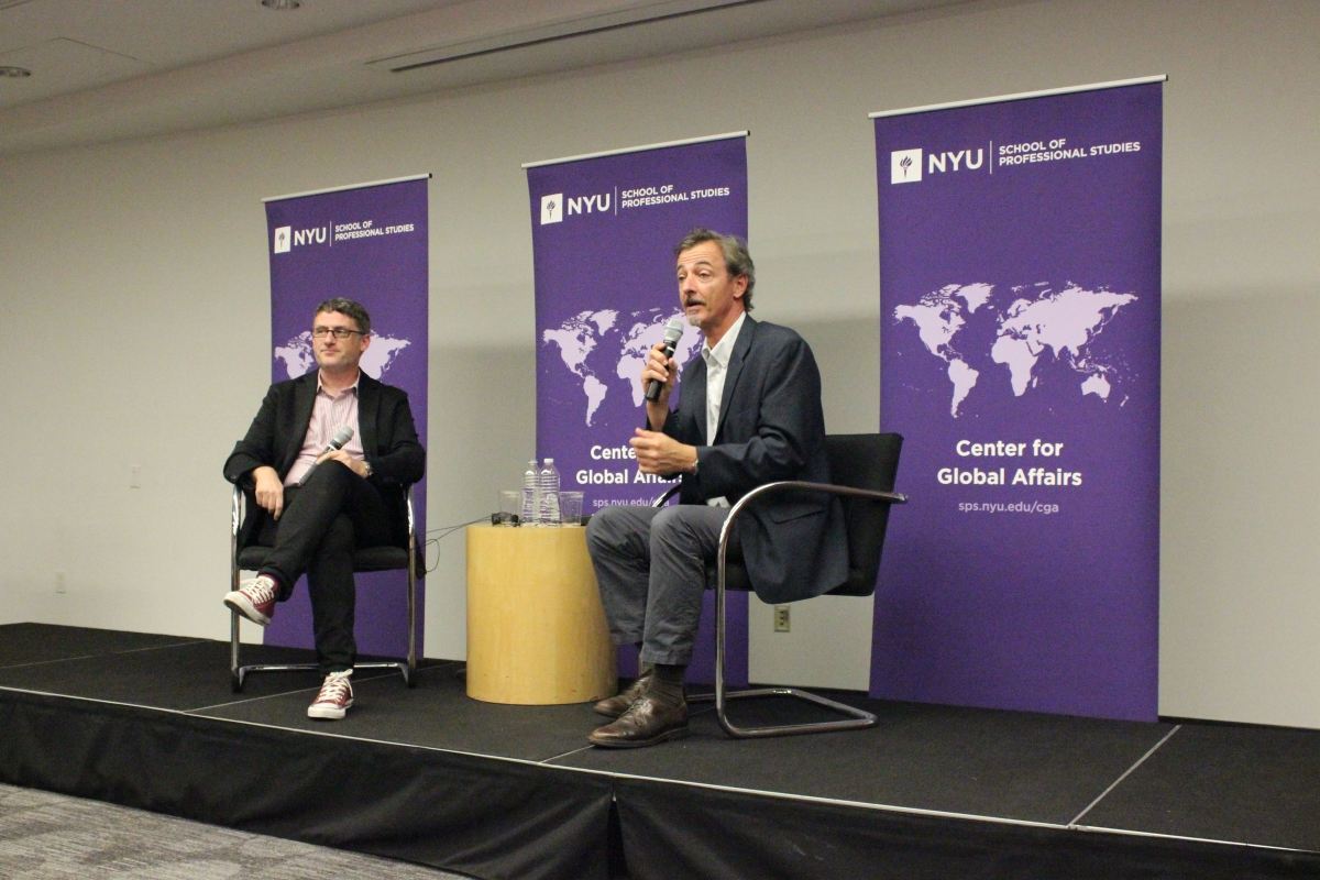 Professor Mark Galeotti (left) and Jordan Center Director Yanni Kotsonis (right) discuss Russia under Putin. Source: Ilaria Parogni